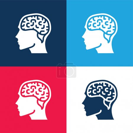 Brain blue and red four color minimal icon set