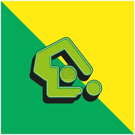 Illustration pour Gymnastique artistique Logo vectoriel 3D moderne vert et jaune - image libre de droit