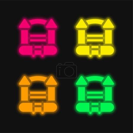Photo pour Château plein d'entrain quatre couleur brillant icône vectorielle néon - image libre de droit