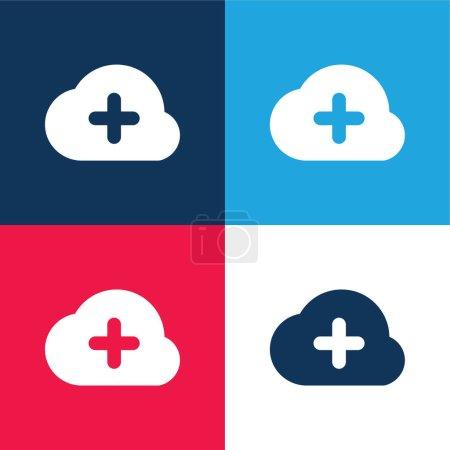 Illustration pour Ajouter au nuage bleu et rouge quatre couleurs minimum jeu d'icônes - image libre de droit
