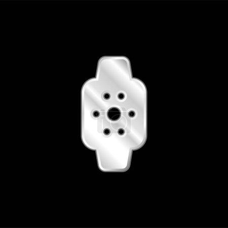 Illustration pour Apple Watch argent plaqué icône métallique - image libre de droit