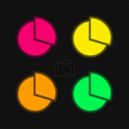 Illustration for Black Circular Graphic four color glowing neon vector icon - Royalty Free Image