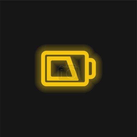 Akku-Umriss mit gelbem Leuchtneon-Symbol