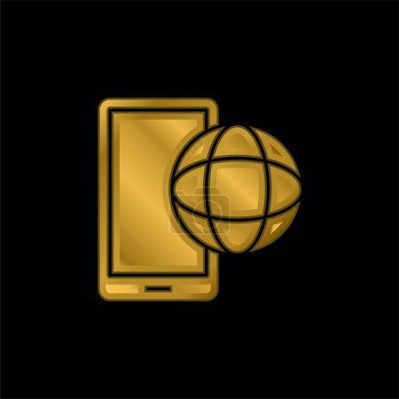 App gold plated metalic icon or logo vector