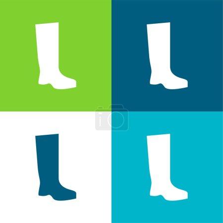 Illustration pour Boot Flat quatre couleurs minimum jeu d'icônes - image libre de droit