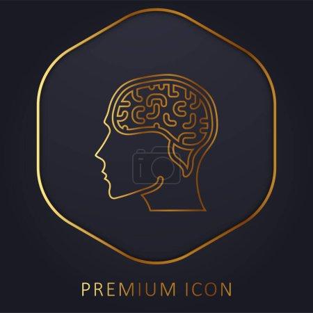 Brain golden line premium logo or icon