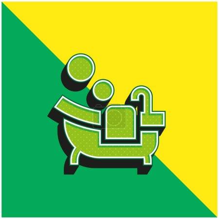 Bathtub Green and yellow modern 3d vector icon logo