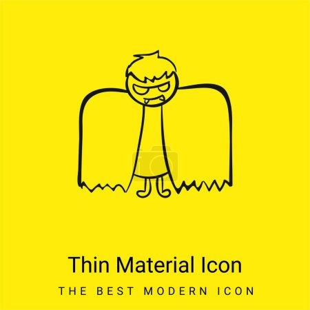Illustration pour Garçon avec Halloween Costume ailé icône minimale de matériel jaune vif - image libre de droit