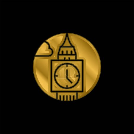 Illustration for Big Ben gold plated metalic icon or logo vector - Royalty Free Image