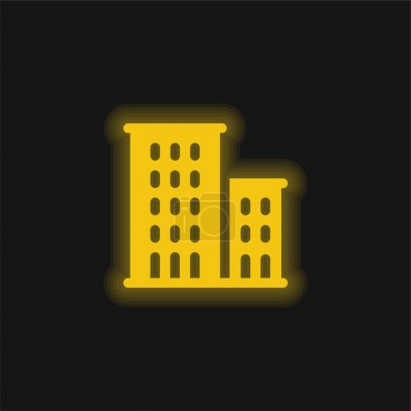 Illustration for Apartments yellow glowing neon icon - Royalty Free Image