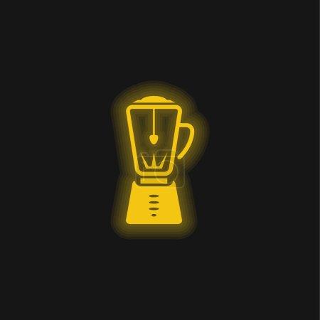Illustration pour Blender Appliance jaune néon brillant icône - image libre de droit