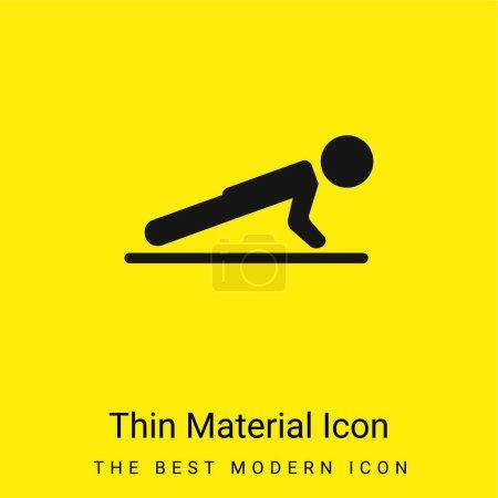 Illustration pour Garçon faisant Pushups icône matérielle jaune vif minimale - image libre de droit