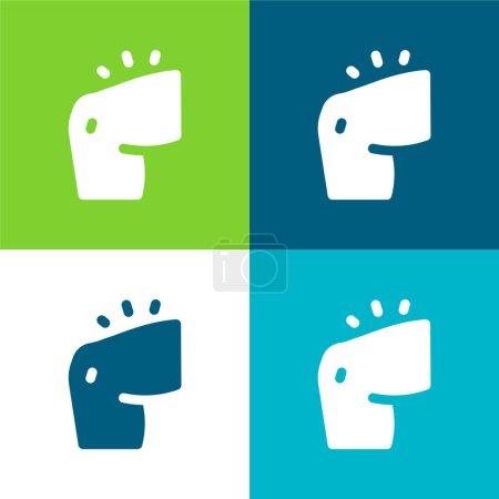Illustration pour Bras plat quatre couleurs minimum jeu d'icônes - image libre de droit