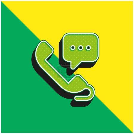 Illustration pour 24 Heures Vert et jaune icône vectorielle 3d moderne logo - image libre de droit