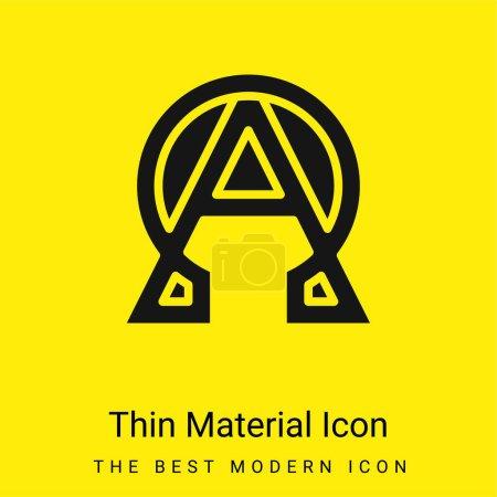 Alfa y Omega icono de material amarillo brillante mínimo