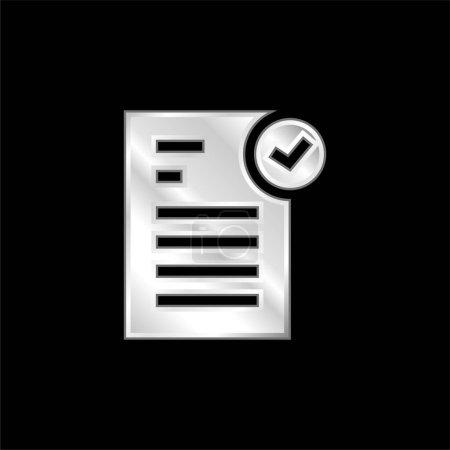 Illustration pour Icône métallique argentée approuvée - image libre de droit