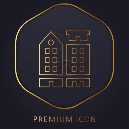 Illustration for Amsterdam golden line premium logo or icon - Royalty Free Image