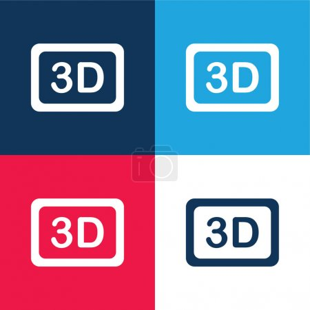 3d Movie blue and red four color minimal icon set