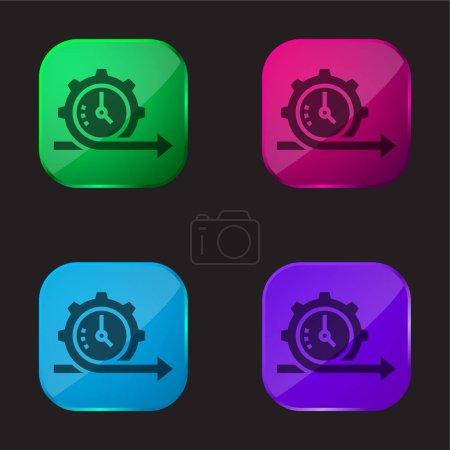 Illustration pour Agile icône de bouton en verre quatre couleurs - image libre de droit
