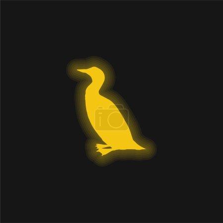 Bird Loon Shape yellow glowing neon icon