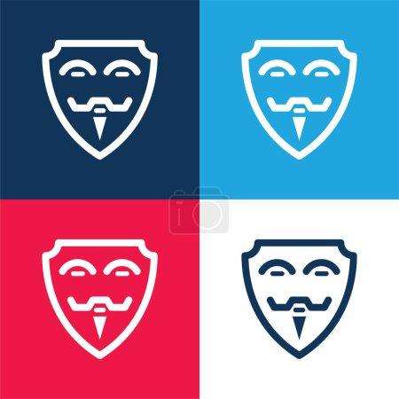 Illustration pour Ensemble d'icônes minime quatre couleurs bleu et rouge anonymes - image libre de droit