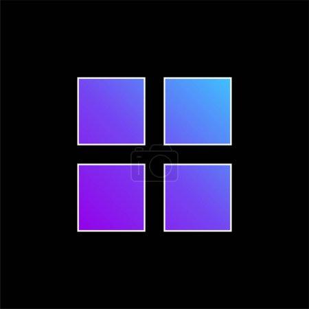 Illustration pour Icône vectorielle de dégradé bleu 4 carrés noirs - image libre de droit