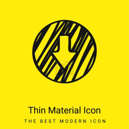 Arrow Down Outline Sketched Circle minimal bright yellow material icon