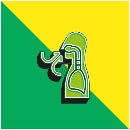 Illustration pour Respirer vert et jaune icône vectorielle 3d moderne logo - image libre de droit