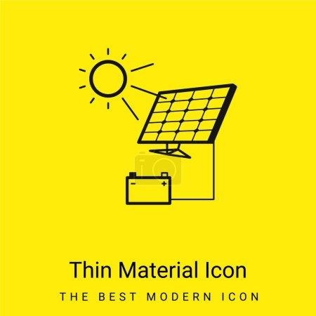 Illustration pour Chargement de batterie avec panneau solaire minime icône de matériau jaune vif - image libre de droit