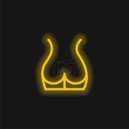 Illustration pour Back Part Of The Body Showing Butt Area yellow glowing neon icon - image libre de droit