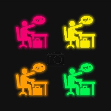 Icono de vector de neón brillante de cuatro colores enojado