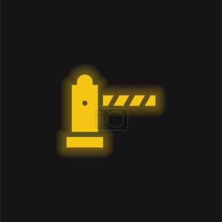 Illustration pour Barrière jaune brillant icône néon - image libre de droit