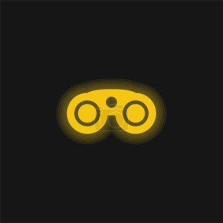 Photo pour Jumelles jaune brillant icône néon - image libre de droit