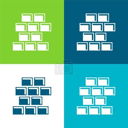 Brick Wall Flat four color minimal icon set