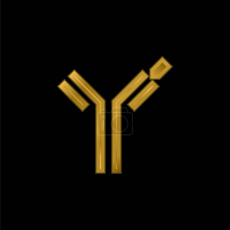 Illustration for Antibody gold plated metalic icon or logo vector - Royalty Free Image