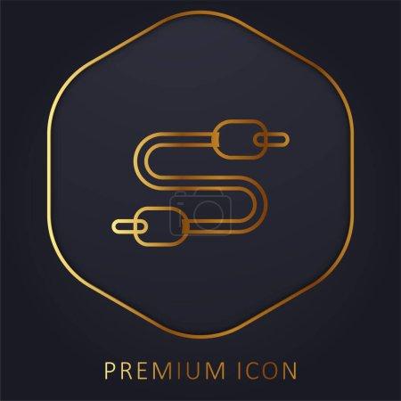 Illustration for Audio Jack golden line premium logo or icon - Royalty Free Image