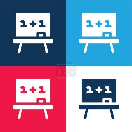 Illustration pour Plateau bleu et rouge quatre couleurs minimum jeu d'icônes - image libre de droit