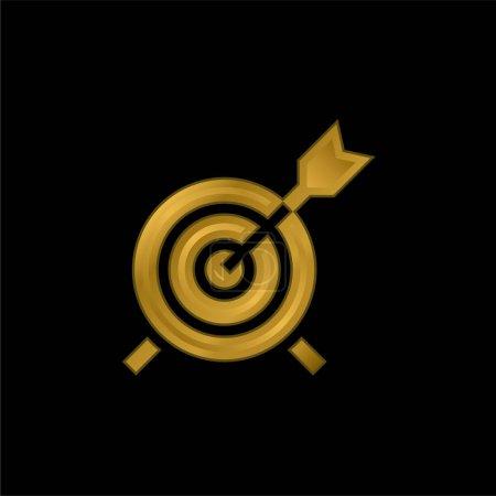 Photo pour Flèche plaqué or icône métallique ou logo vecteur - image libre de droit
