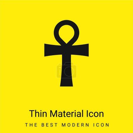 Photo pour Ankh minime icône matériau jaune vif - image libre de droit