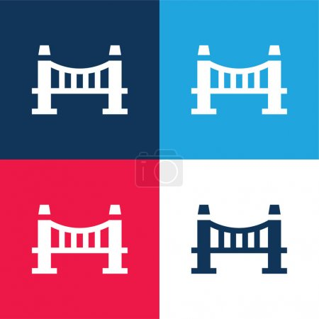 Photo for Bridge blue and red four color minimal icon set - Royalty Free Image