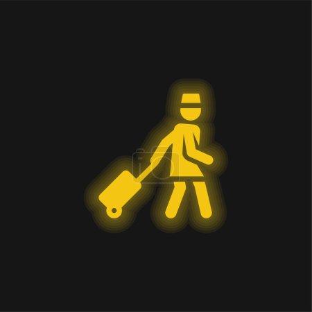 Photo pour Assistant jaune brillant icône néon - image libre de droit