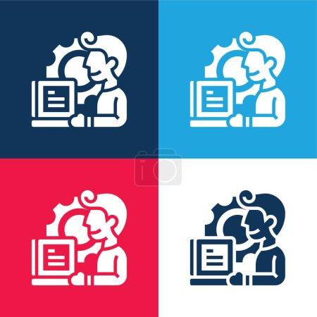 Illustration pour Application bleu et rouge quatre couleurs minimum jeu d'icônes - image libre de droit