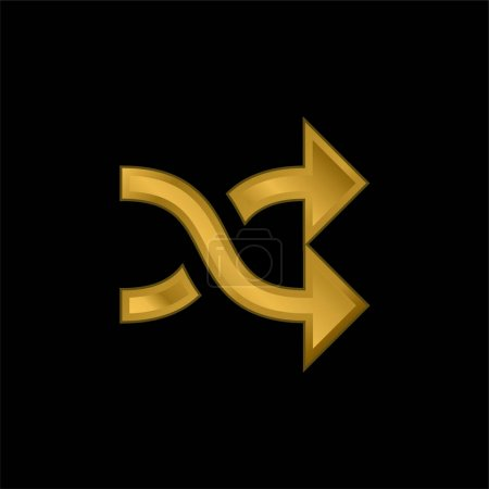 Illustration for Arrows Crossed Couple gold plated metalic icon or logo vector - Royalty Free Image