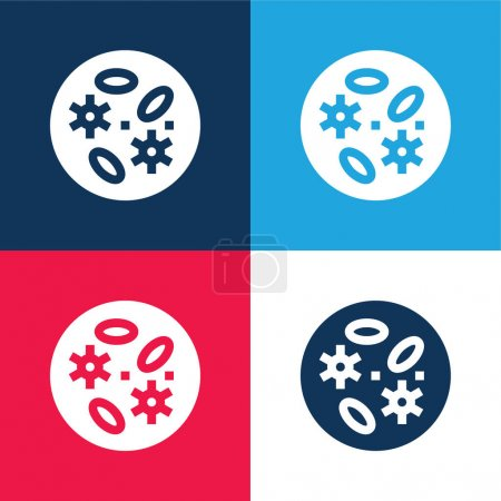 Illustration for Bacteria blue and red four color minimal icon set - Royalty Free Image