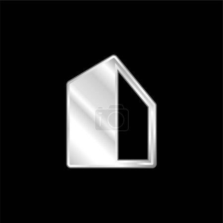 Photo pour Icône métallique argentée Big Building - image libre de droit