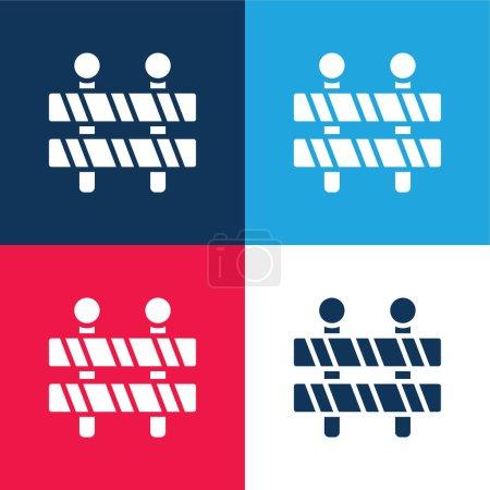 Photo pour Barrière bleu et rouge quatre couleurs minimum jeu d'icônes - image libre de droit