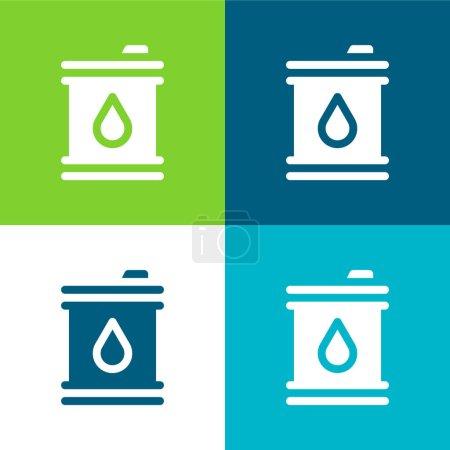 Illustration for Barrel Flat four color minimal icon set - Royalty Free Image