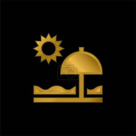 Foto de Playa chapado en oro icono metálico o logo vector - Imagen libre de derechos