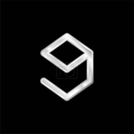9gag Logo silver plated metallic icon