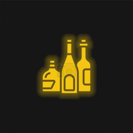 Alcoholic Drink yellow glowing neon icon